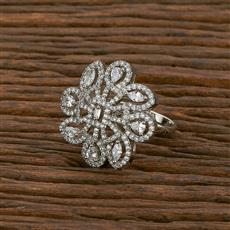 414229 Cz Classic Ring With Rhodium Plating
