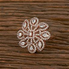 414230 Cz Classic Ring With Rose Gold Plating