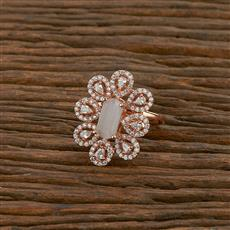 414248 Cz Classic Ring With Rose Gold Plating