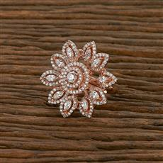 414250 Cz Classic Ring With Rose Gold Plating