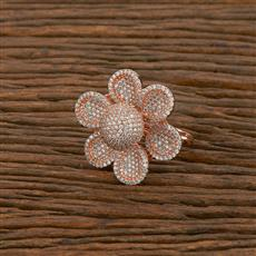 414256 Cz Classic Ring With Rose Gold Plating