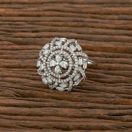 414279 Cz Classic Ring With Rhodium Plating