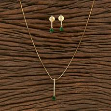 414325 Cz Classic Pendant Set With Gold Plating