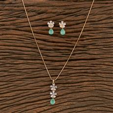 414326 Cz Classic Pendant Set With Rose Gold Plating