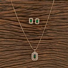 414328 Cz Classic Pendant Set With Rose Gold Plating