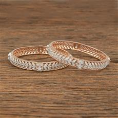 414343 Cz Classic Bangles With Rose Gold Plating