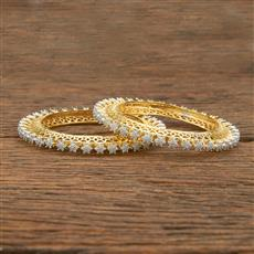 414344 Cz Classic Bangles With 2 Tone Plating