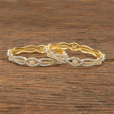 414346 Cz Classic Bangles With 2 Tone Plating