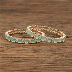 414347 Cz Classic Bangles With Rose Gold Plating