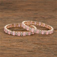 414348 Cz Classic Bangles With Rose Gold Plating