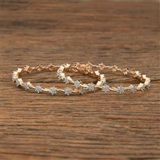 414349 Cz Classic Bangles With Rose Gold Plating