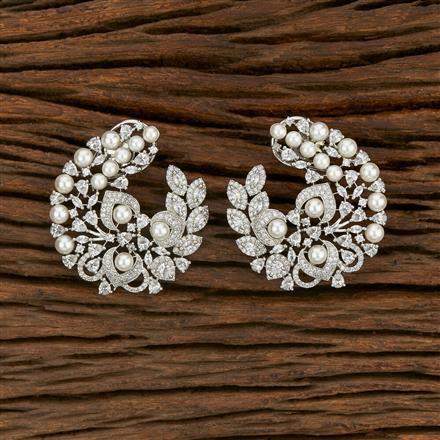 414416 Cz Chand Earring With Rhodium Plating