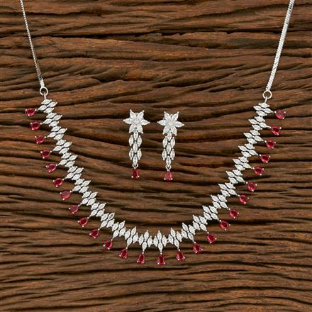 414434 Cz Classic Necklace With Rhodium Plating