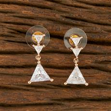 414445 Cz Short Earring With Rose Gold Plating