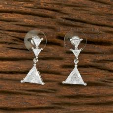 414447 Cz Short Earring With Rhodium Plating