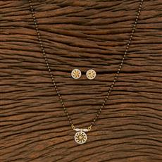 414463 Cz Delicate Mangalsutra With 2 Tone Plating