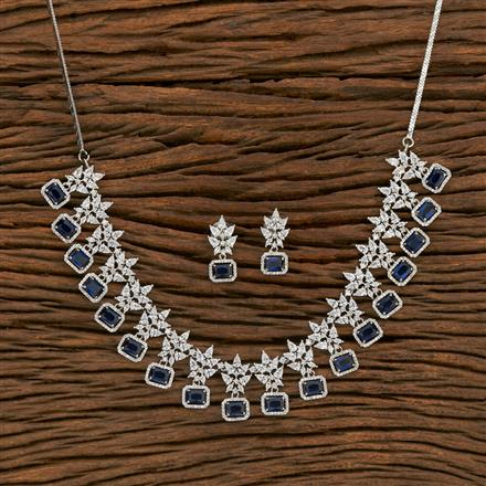 414466 Cz Classic Necklace With Rhodium Plating