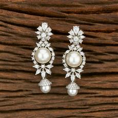 414468 Cz Classic Earring With Rhodium Plating