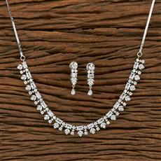 414477 Cz Classic Necklace With Rhodium Plating