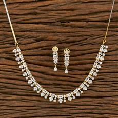 414479 Cz Classic Necklace With 2 Tone Plating