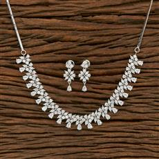 414480 Cz Classic Necklace With Rhodium Plating