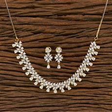 414482 Cz Classic Necklace With 2 Tone Plating