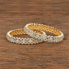 414575 Cz Classic Bangles With 2 Tone Plating