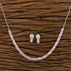 414583 Cz Delicate Necklace With Rhodium Plating