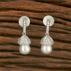 414586 Cz Short Earring With Rhodium Plating