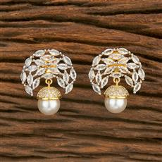 414587 Cz Short Earring With 2 Tone Plating