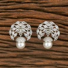 414588 Cz Short Earring With Rhodium Plating