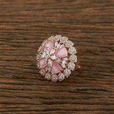 414856 Cz Classic Ring With Rose Gold Plating