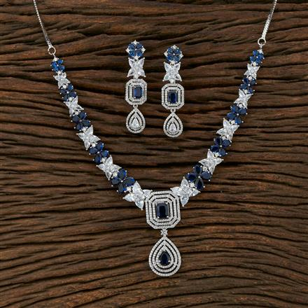 414863 Cz Classic Necklace With Rhodium Plating