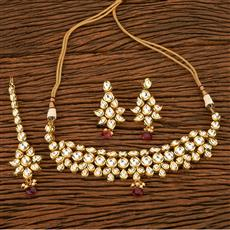 41489 Kundan Choker Necklace with gold plating