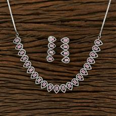 414900 Cz Classic Necklace With Rhodium Plating