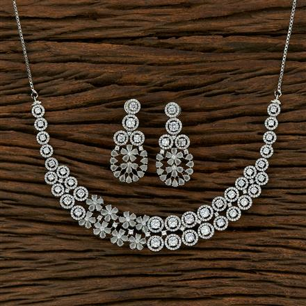 414906 Cz Classic Necklace With Rhodium Plating
