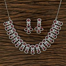 414909 Cz Classic Necklace With Rhodium Plating