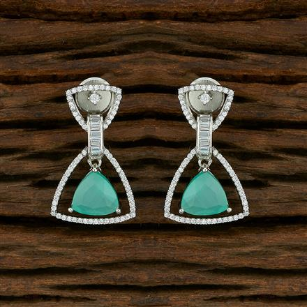 414916 Cz Short Earring With Rhodium Plating