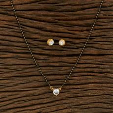 414922 Cz Delicate Mangalsutra With Gold Plating