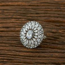 414932 Cz Classic Ring With Rhodium Plating
