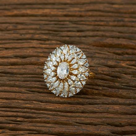 414935 Cz Classic Ring With 2 Tone Plating