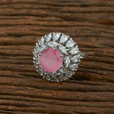 414936 Cz Classic Ring With Rhodium Plating