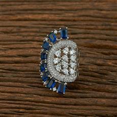 414938 Cz Classic Ring With Rhodium Plating