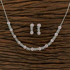 414978 Cz Classic Necklace With Rhodium Plating