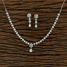 414985 Cz Classic Necklace With Rhodium Plating