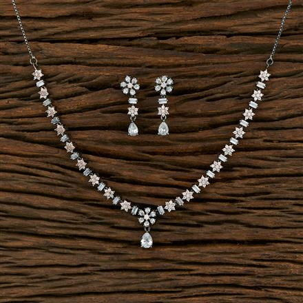 414988 Cz Classic Necklace With Black Rose Plating