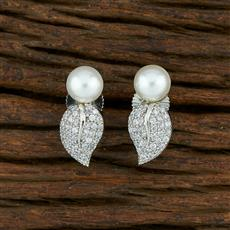 415039 Cz Short Earring With Rhodium Plating