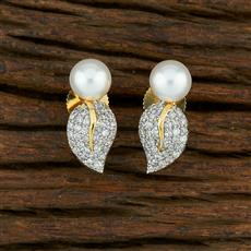 415040 Cz Short Earring With 2 Tone Plating