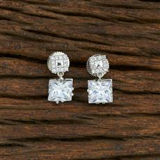 415041 Cz Short Earring With Rhodium Plating