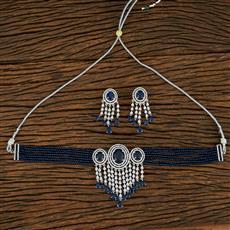 415042 Cz Mala Necklace With Rhodium Plating